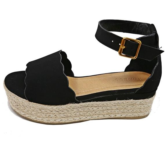 35b86eb64ac Black Open Toe Platform Espadrille Sandals